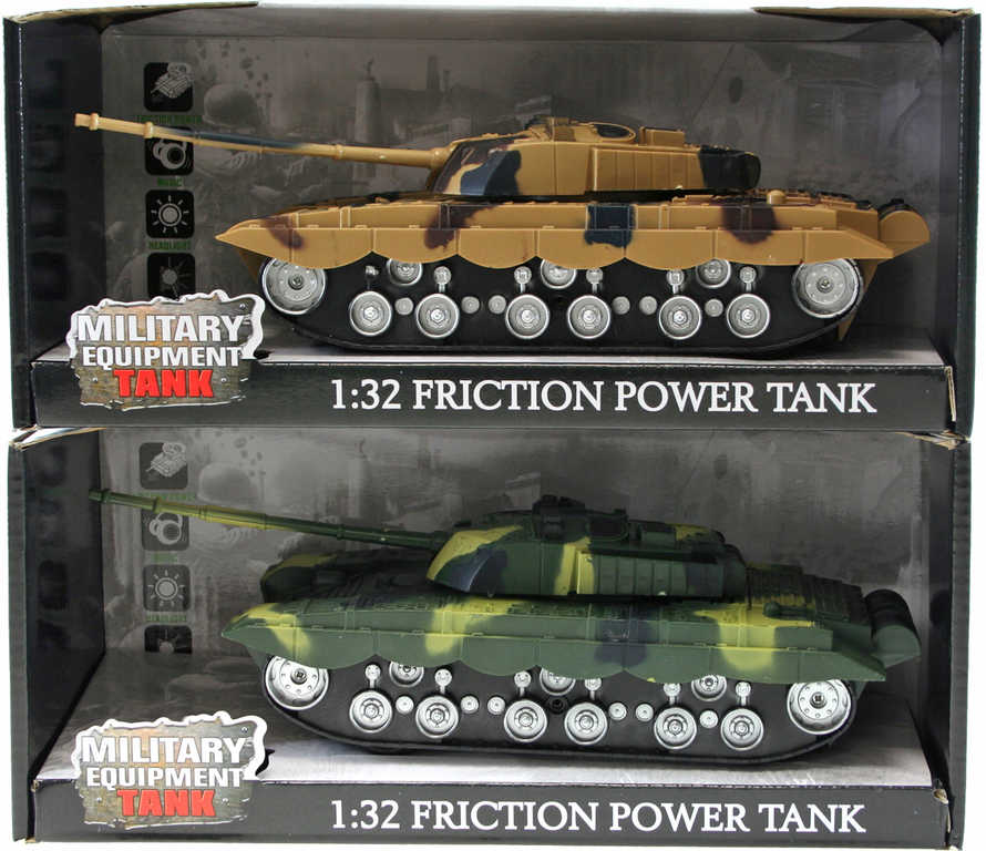 Tank 1:32 vojenské vozidlo na baterie 27cm na setrvačník 2 barvy Světlo Zvuk