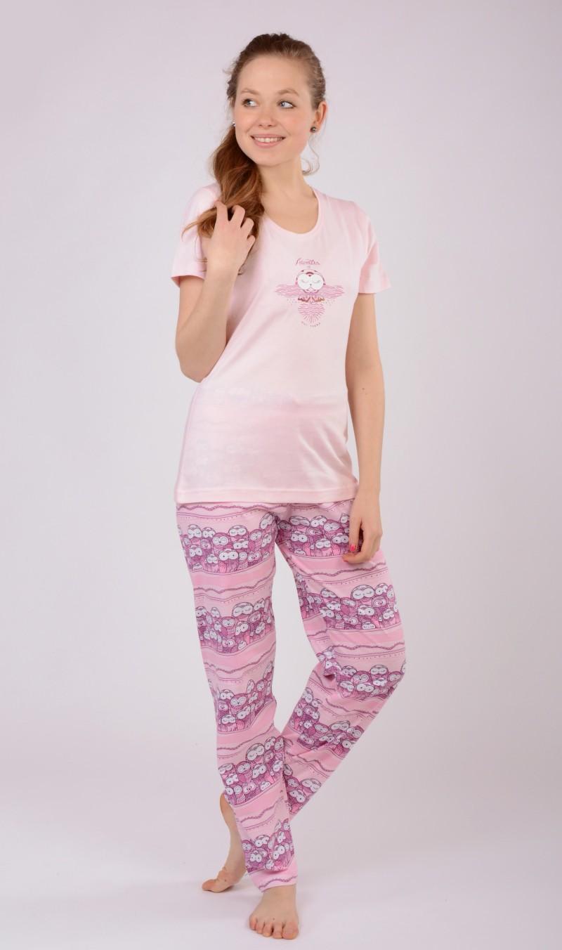 Dámské pyžamo s krátkým rukávem Malé sovy - Růžová XL