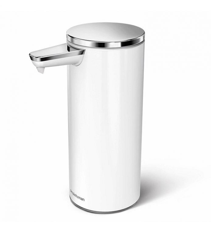 Dávkovač Simplehuman mýdla bezdotykový – 266 ml, bílý, nerez ocel, dobíjecí