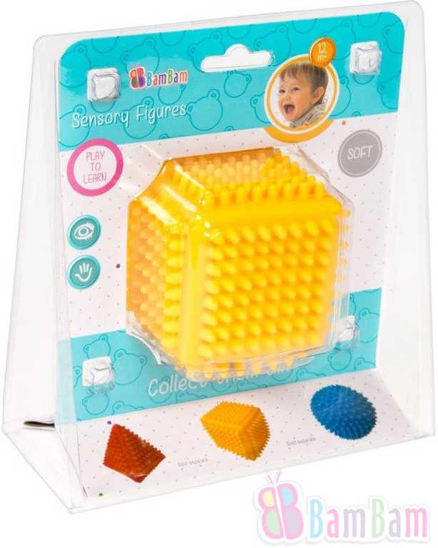 ET BAM BAM Baby Krychle senzorická soft gumová s bodlinkami pro miminko