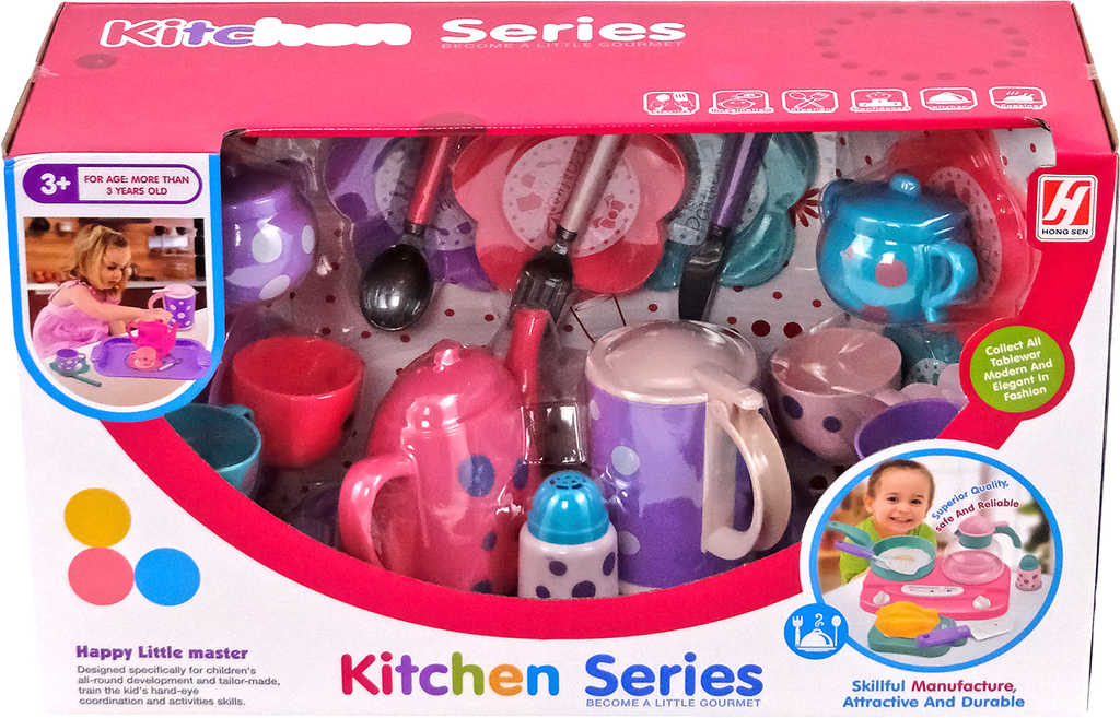 PL Sada čajový servis dětské plastové nádobí 22ks v krabici