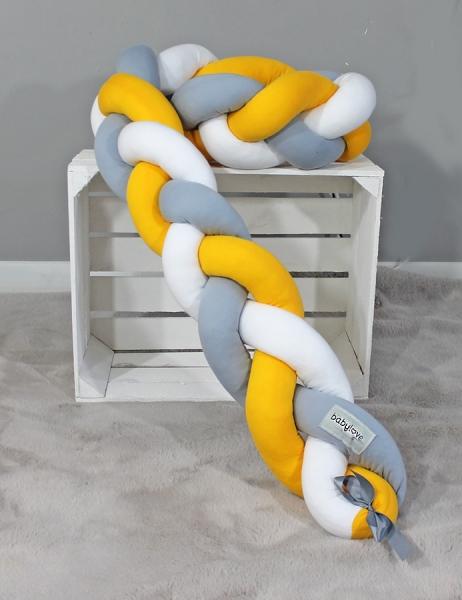 Mantinel Babylove pletený cop - žlutá, šedá,bílá - 200x16