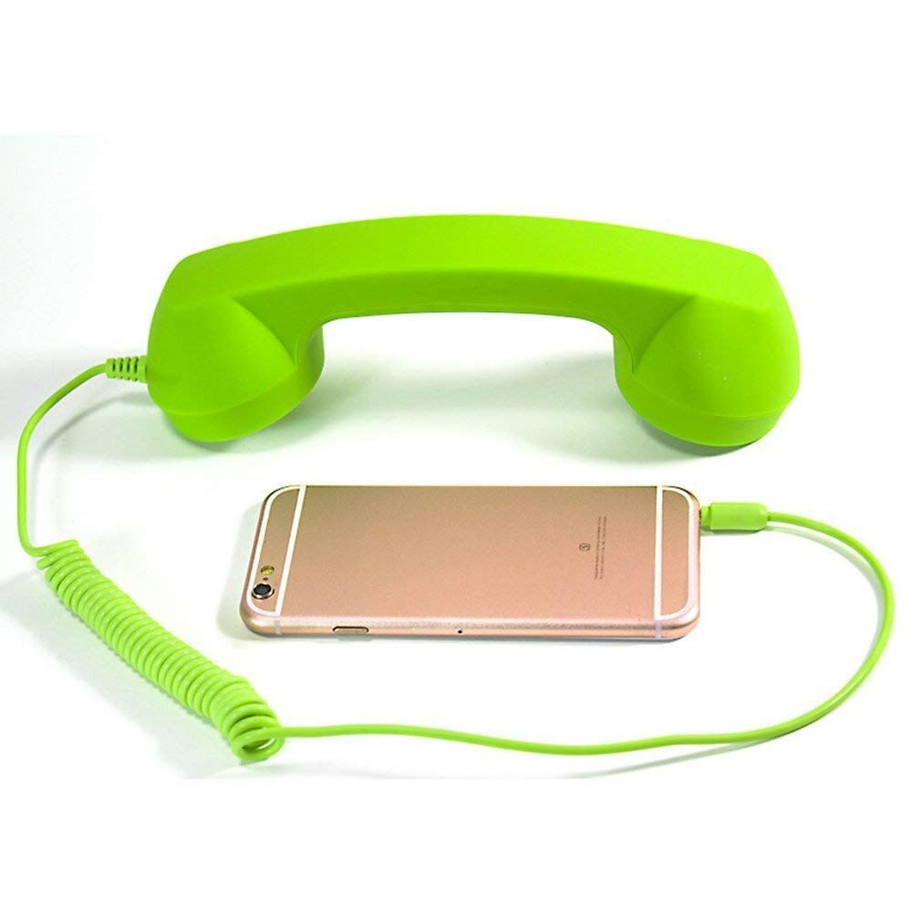 Retro sluchátko na mobil - zelené