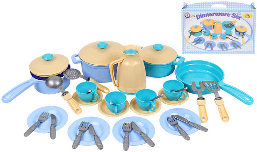 Dětské nádobí velká sada 37ks s hrnci a konvicí v krabičce plast