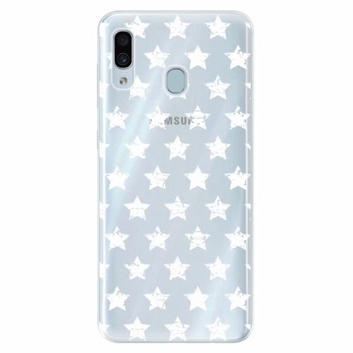 Silikonové pouzdro iSaprio - Stars Pattern - white - Samsung Galaxy A30
