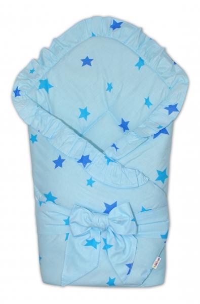 Rychlozavinovačka 80x80cm s volánkem a stuhou - Baby stars - modrá