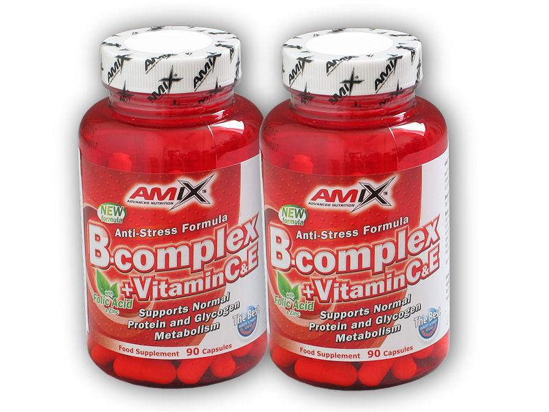 2x B-Complex + Vitamin C + Vitamin E 90kapslí + BCAA Micro Instant Juice 10g akce - watermelon