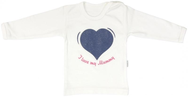 Bavlněné tričko Mamatti Srdíčko BORŮVKA - dlouhý