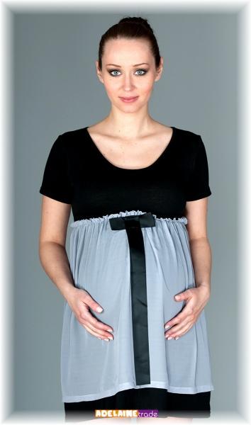 Elegantní těhotenské šaty se stuhou - černé s šedou - M/L