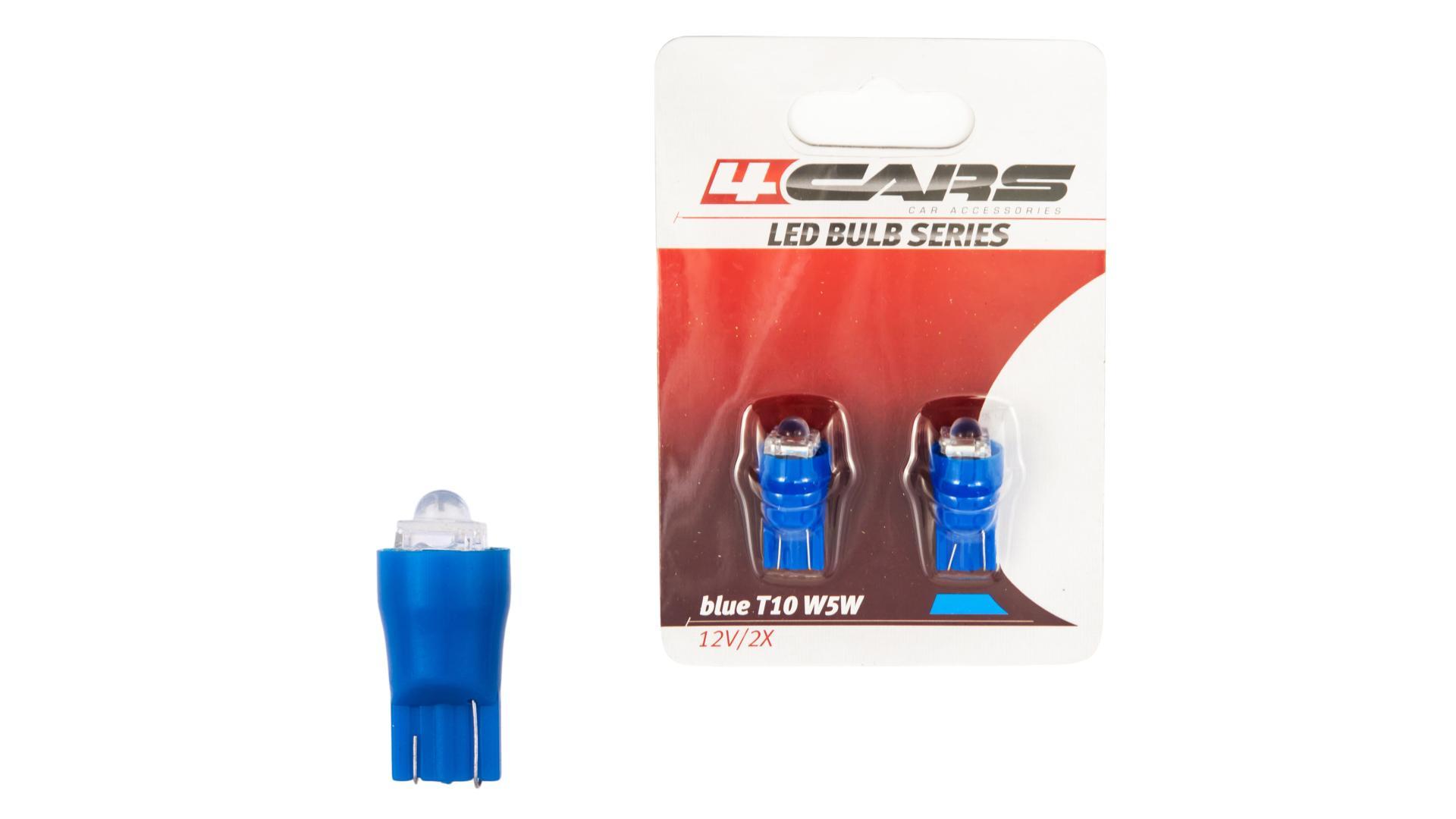 4CARS LED žárovka 1LED12V T10 modrá