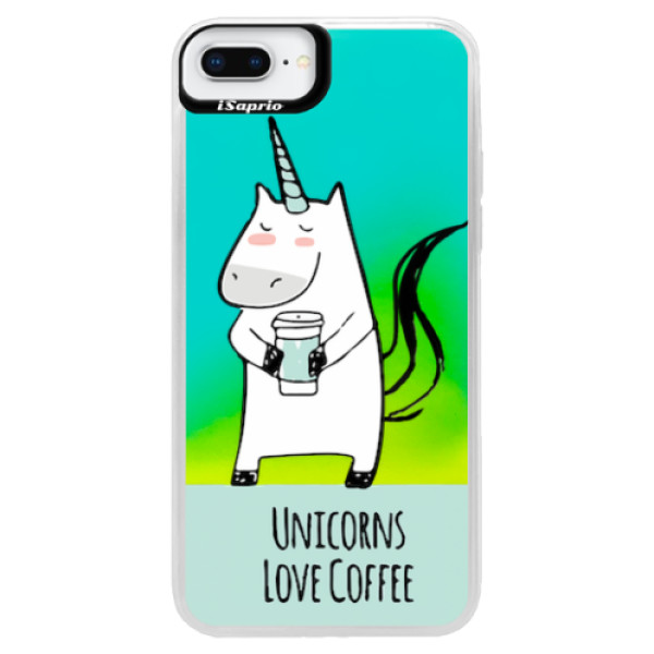 Neonové pouzdro Blue iSaprio - Unicorns Love Coffee - iPhone 8 Plus