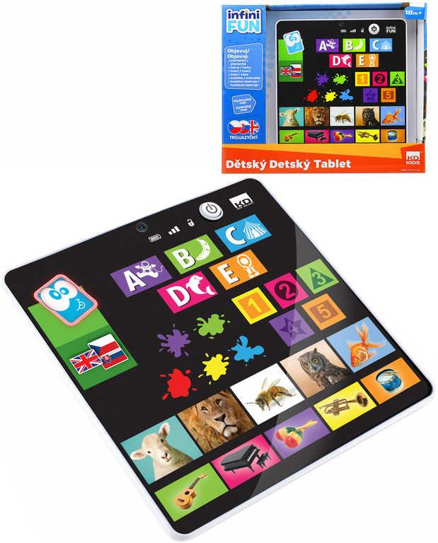 Tablet dětský naučný interaktivní trojjazyčný CZ na baterie v krabici