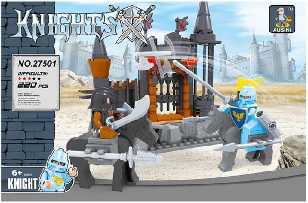 AUSINI Stavebnice kostky pevnost rytířská Knights set v krabici 220 dílků