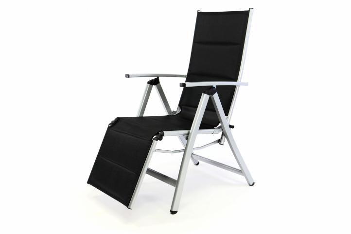 Polohovatelná zahradní židle s opěrkou nohou DELUXE