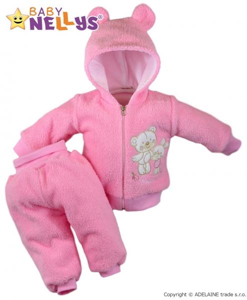 Chlupáčkový komplet OUŠKO Baby Nellys ® - růžový - 86 (12-18m)