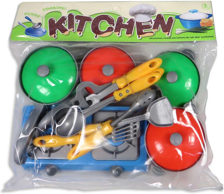 Sada kuchyňská vařič s hrnci + kuchyňské náčiní plast v sáčku