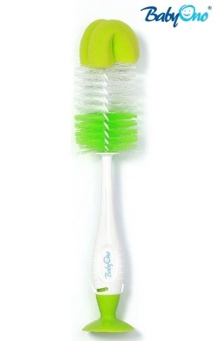 BabyOno Kartáč k mytí lahviček s přísavkou - zelený