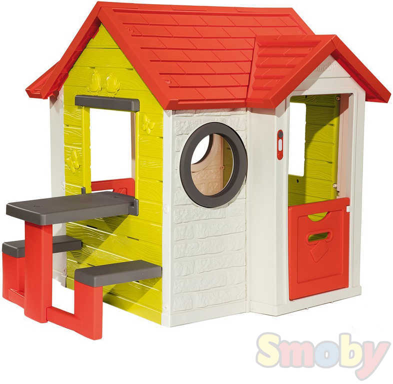 SMOBY Domeček dětský s piknikovým stolkem My House zvonek na baterie plast