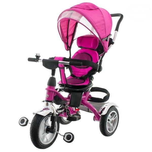 Euro Baby Dětská tříkolka s vodící tyčí - růžová, K19