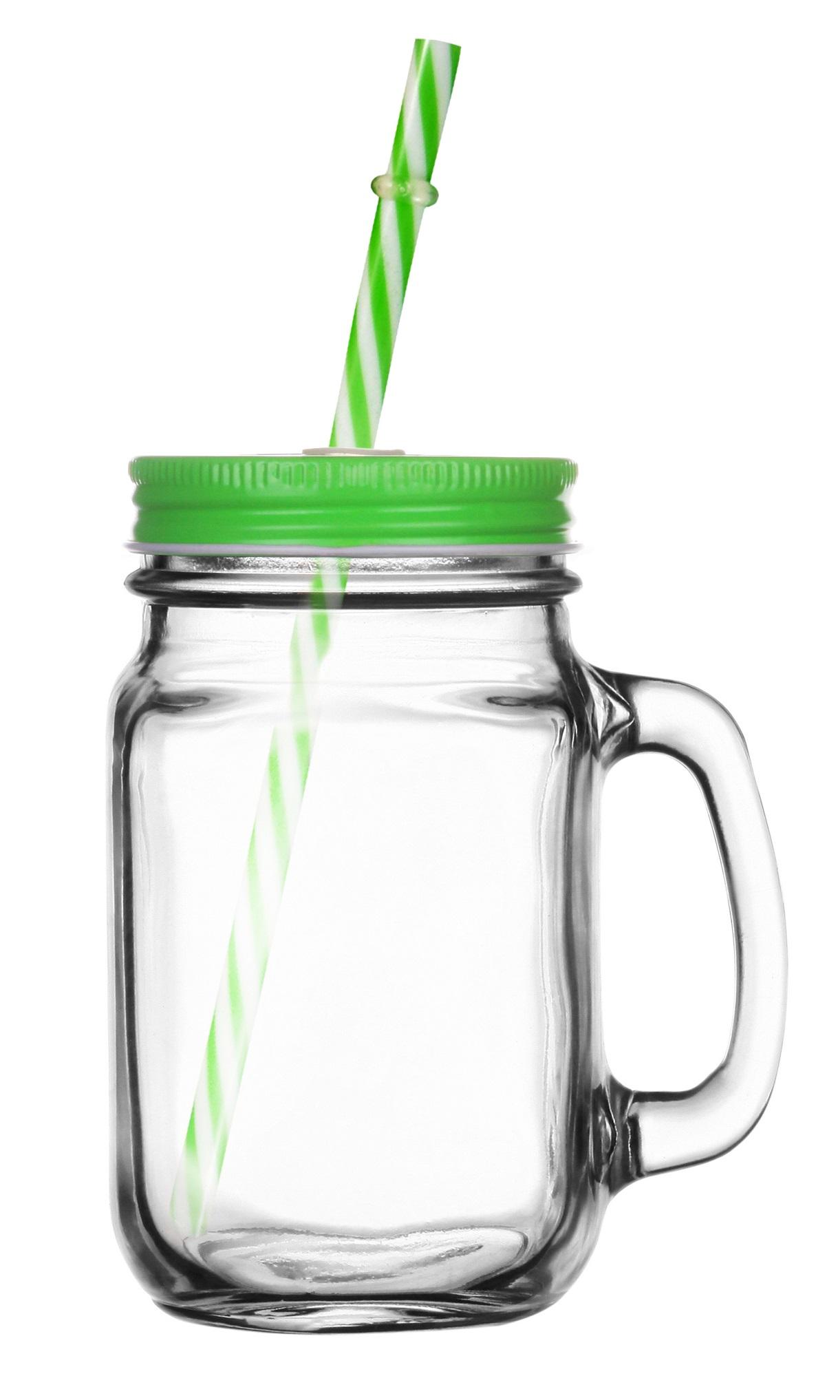 Sklenice s víčkem a brčkem 400ml - zelená