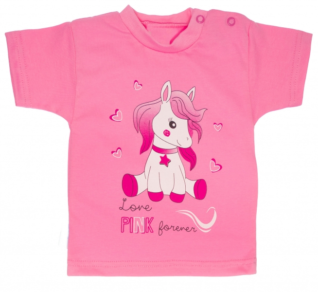 Bavlněné tričko, vel. - 80 - Pony - růžové - 80 (9-12m)