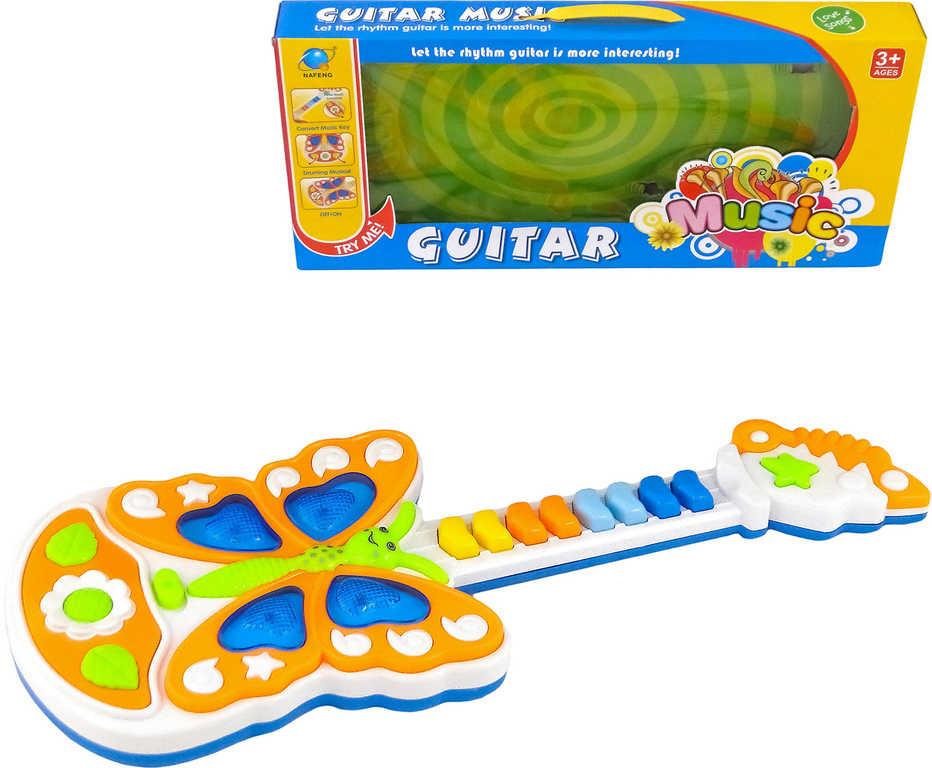 Baby kytara dětská 42cm pianko na baterie Světlo Zvuk