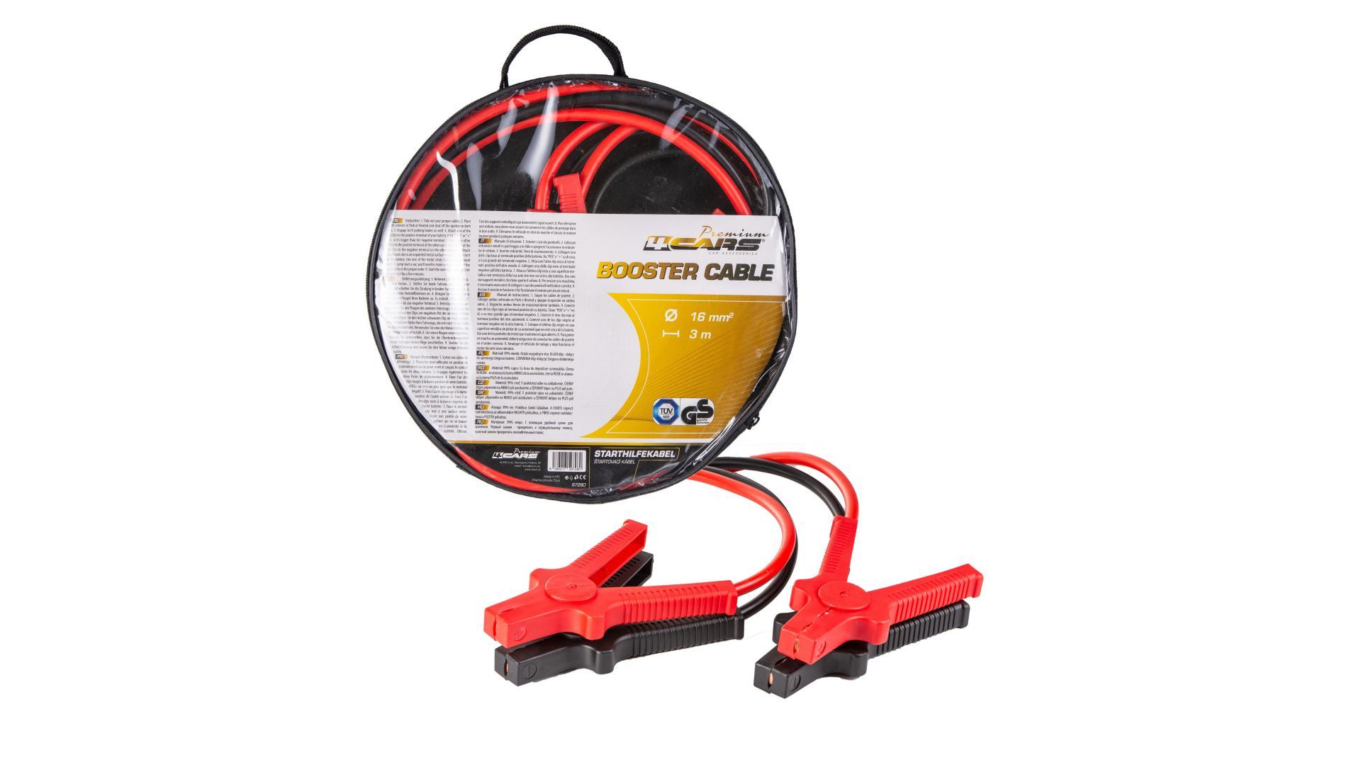 4CARS Premium Startovací kabel - DIN 72553 izolované kleště, tloušťka 16.0MM², 3metre