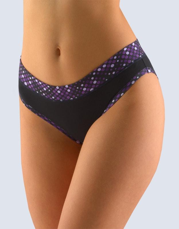 GINA dámské kalhotky bokové se širokým bokem, širší bok, šité, s potiskem 16107P - černá arónie - 34/36