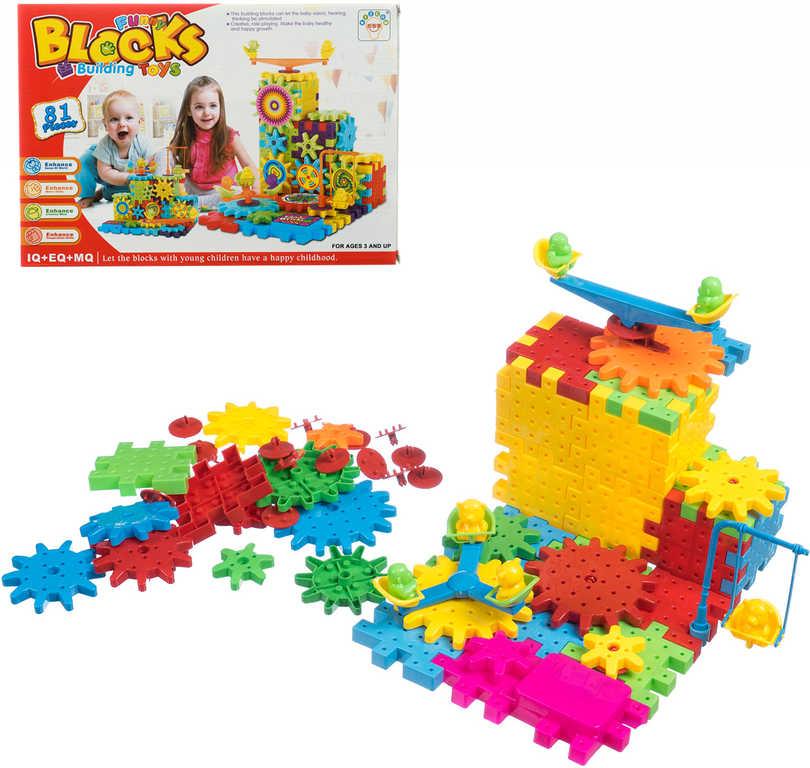 Stavebnice Funny Blocks ozubená kolečka na baterie set 81 dílků v krabici