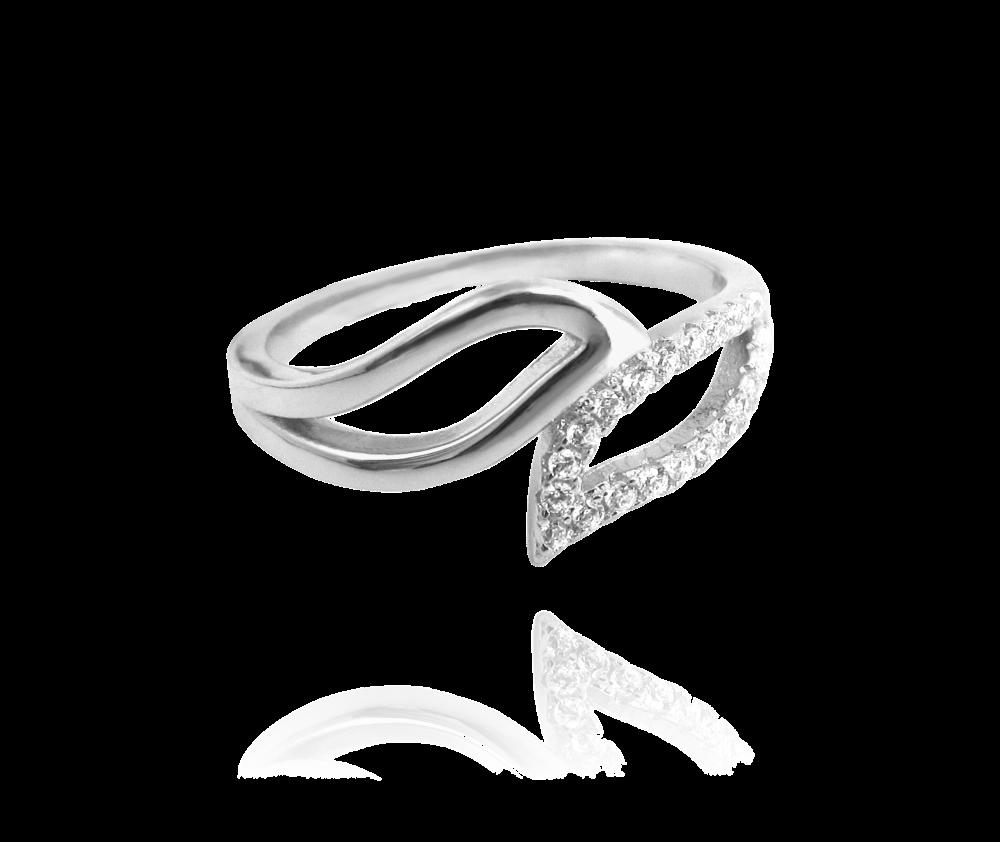 Stříbrný prsten MINET s bílými zirkony vel. 59