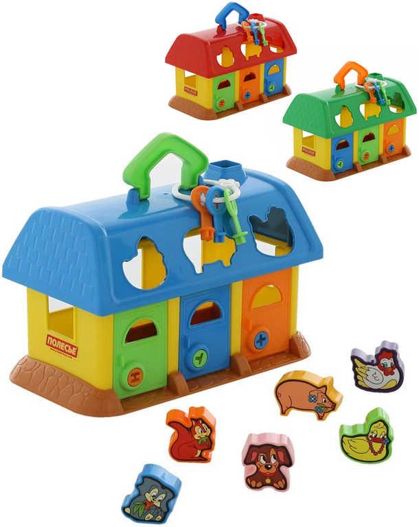Baby domeček didaktický pro zvířátka vkládací set s klíčky - 3 barvy