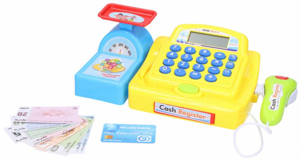 Pokladna se skenerem s efekty set s bankovkami na baterie Světlo Zvuk