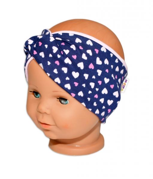 Baby Nellys Hand Made Jarní, bavlněná čelenka - dvouvrstvá, srdíčka