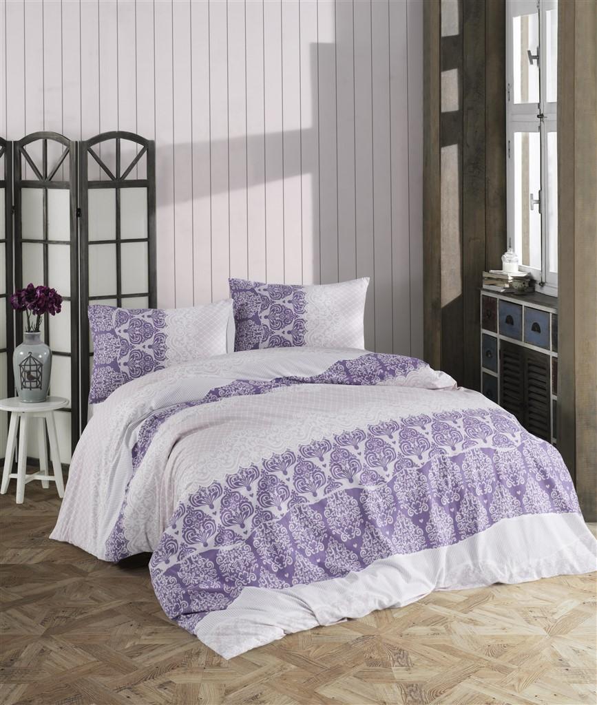 Povlečení francouzské bavlna 200x200,70x90 Madelaine purple, Výběr zapínání: