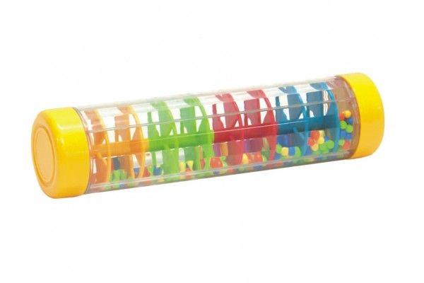 Kuličkový déšť/chrastítko barevné plast 20 cm hlavolam