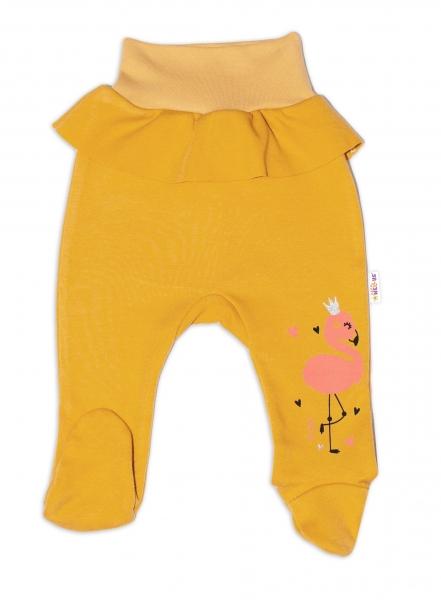 Baby Nellys Bavlněné kojenecké polodupačky, Flamingo s volánkem - hořčicové, vel.
