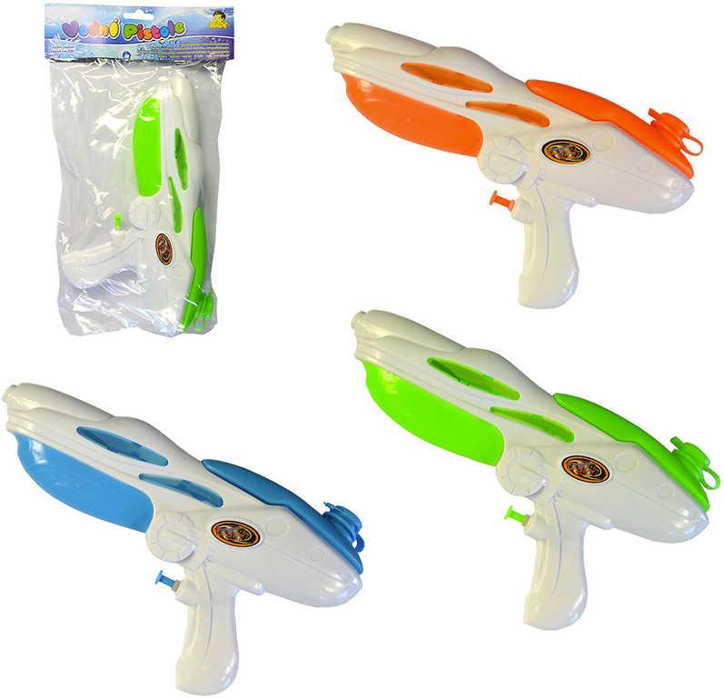 Pistole vodní stříkací 33cm se zásobníkem na vodu různé barvy