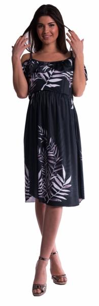 Těhotenské šaty na ramínkách - černé