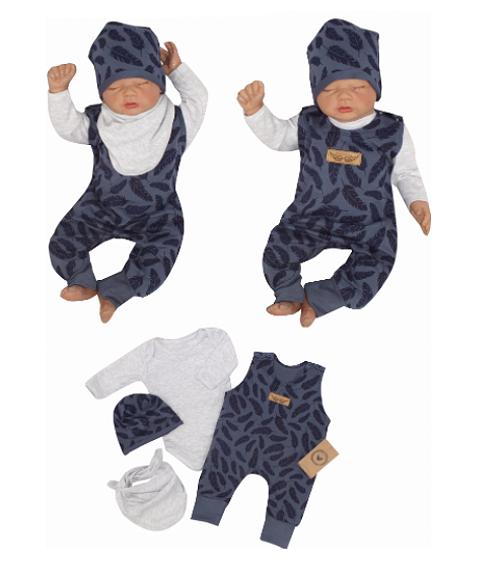 Z&Z 4-dílná soupravička body, láclové kalhoty, čepička + šátek