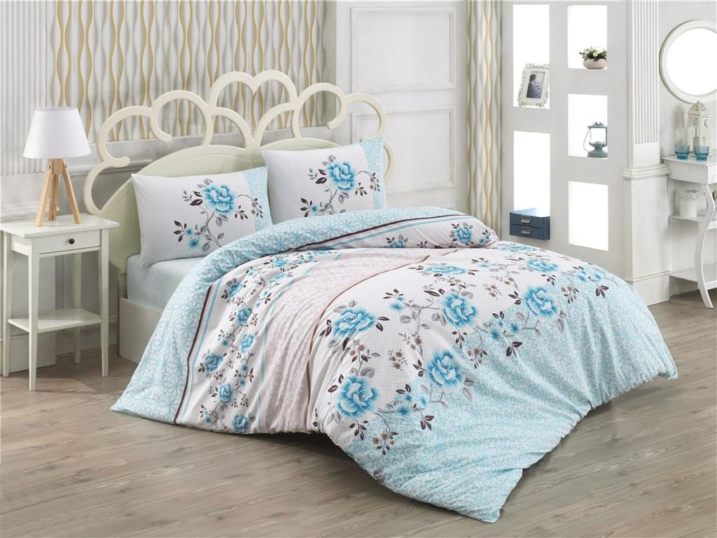 Povlečení francouzské bavlna 220x220,70x90 Alena blue, Výběr zapínání: