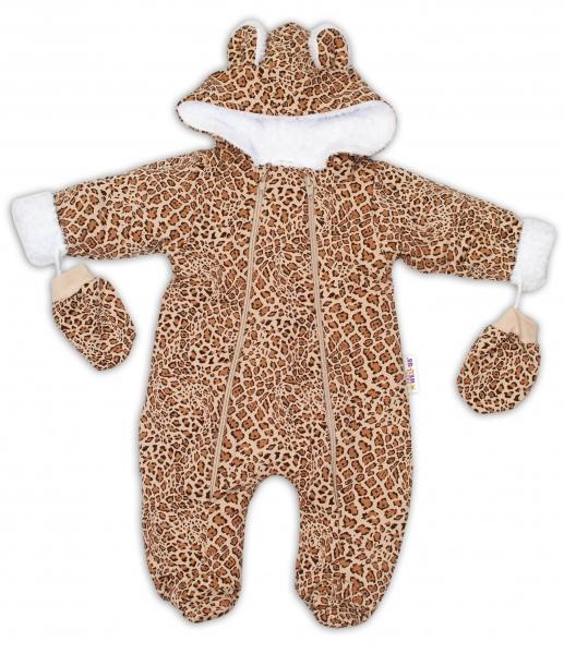 baby-nellys-zimni-kombinezka-s-kapuci-a-ousky-rukavicky-gepard-hneda-vel-74-74-6-9m