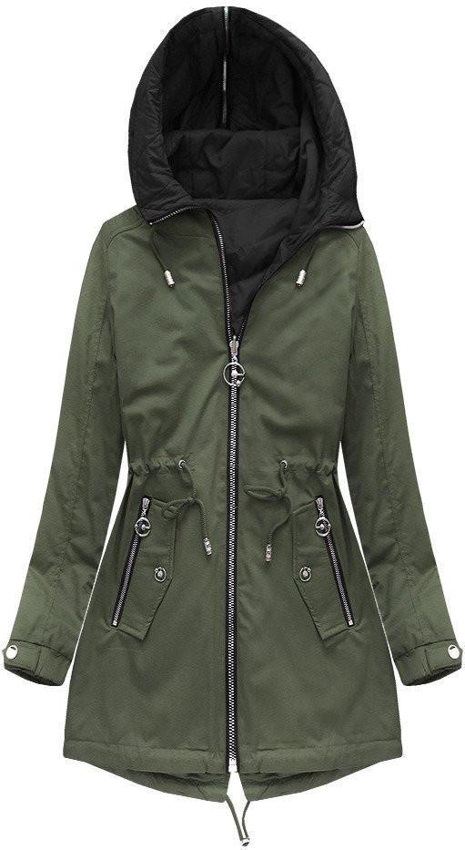 Oboustranná bunda v khaki barvě s kapucí (W635)