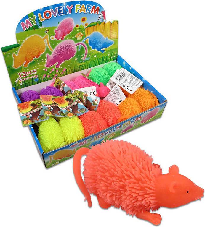Myš soft gumová měkké bodlinky elastická 6 barev antistresová bliká Světlo