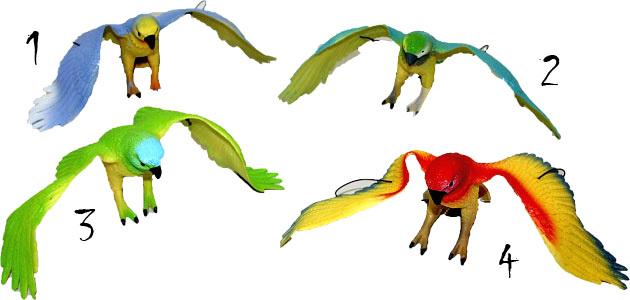Papoušek barevny pískající gumový (ptáček na zavěšení na gumě)
