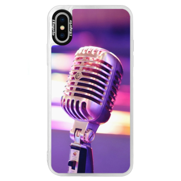 Neonové pouzdro Blue iSaprio - Vintage Microphone - iPhone X