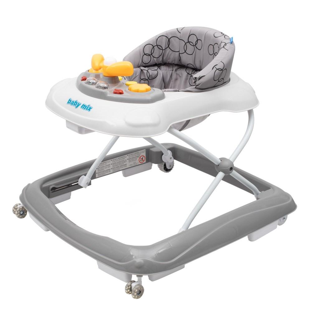 Dětské chodítko Baby Mix s volantem a silikonovými kolečky - tmavě šedý - šedá