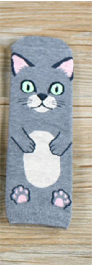 Veselé ponožky s kočičkou - šedé