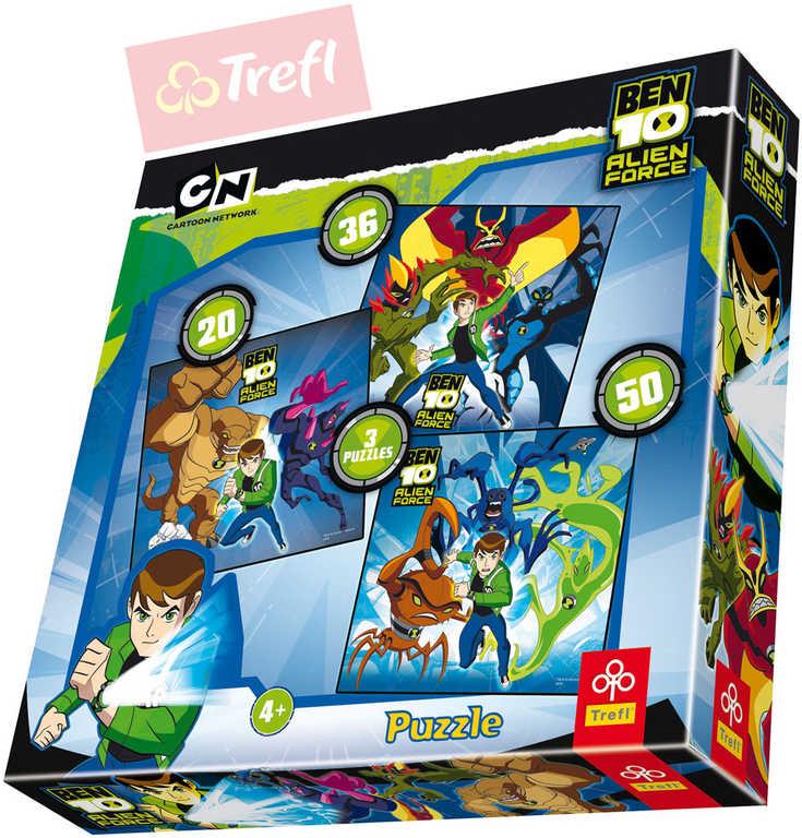 TREFL PUZZLE 3v1 Ben 10: Alien Force 20 / 36 / 50 dílků různé rozměry 134040