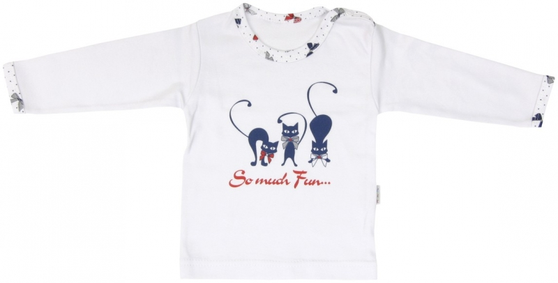 Bavlněné tričko Mamatti Kočička MAŠLIČKA - dlouhý rukáv - 86 (12-18m)