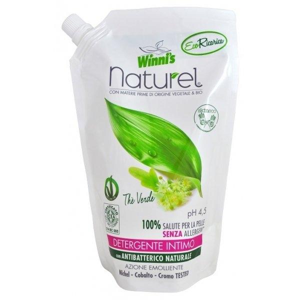 Naturel tekuté mýdlo pro intimní hygienu se zeleným čajem náhradní náplň 500 ml
